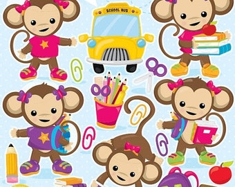 80% OFF SALE School clipart, girl Monkey school clipart commercial use, back to school graphics, digital clip art, digital images - CL999