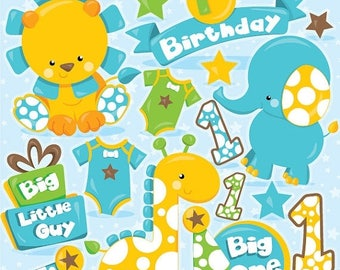 80% OFF SALE First Birthday clipart, birthday clipart commercial use, safari animal vector graphics, animal digital clip art - CL972