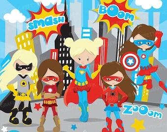 80% OFF SALE Superhero girls clipart commercial use, superhero kids vector graphics, digital clip art, digital images - CL884