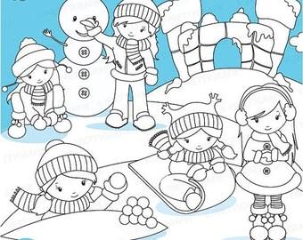 80% OFF SALE Winter fort digital stamp commercial use, vector graphics, digital stamp, digital images - DS624