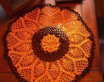 New pineapple fall orange Halloween pumpkin doily. Home decor for fall season