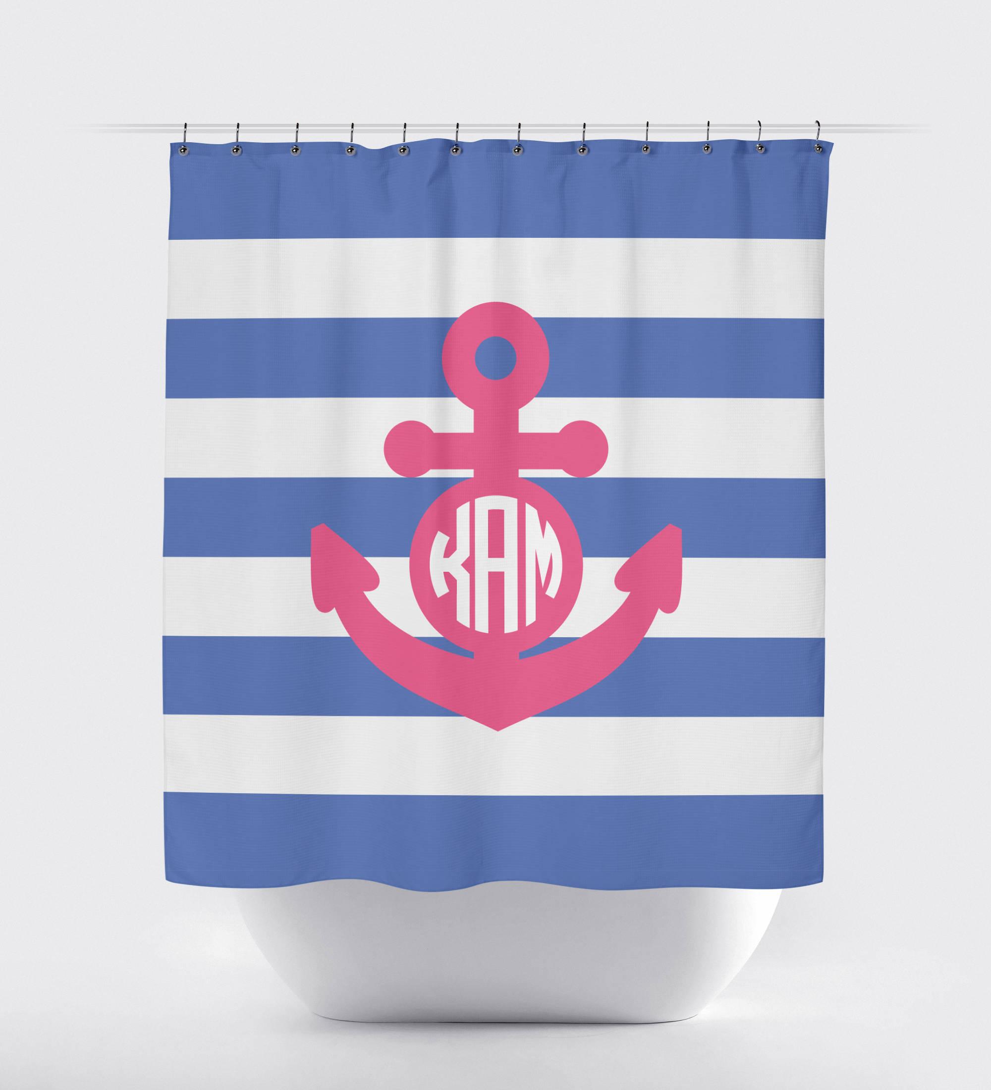 Nautical Shower Curtain | Nautical Decor | Anchor Shower Curtain ...