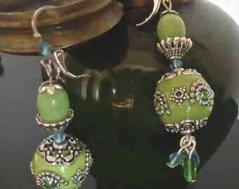 Little Nemo green unique - earrings made in FRANCE