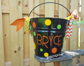 Personalized metal Halloween bucket