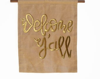 Amore Beaute Customizable Welcome Y'all Handcrafted Burlap Wall Art/Decor