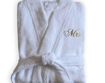 Personalized Bathrobe, White Bathrobe, Bridesmaid Gift, Monogrammed Spa Robe, Bathroom Apparel, Bathrobe For Bridesmaid, Wedding Gift