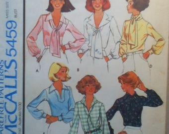 "McCalls Vintage Blouse Pattern 5459 Size: 14, Bust  36"", Waist 28"", Hip 38"""