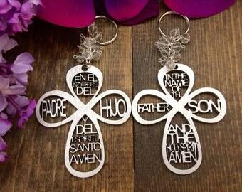 50 pcs keychain cross wood charm, Wedding favors, Baptism Favors, Communion favors, Recuerditos