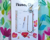 Breathe, unique inspirational Planner Clip w/ Glass Pendant printed from whimsical drawing of girl with braids. Bookmark, Journal Clip