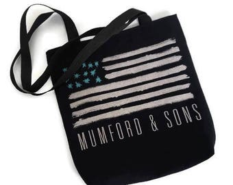 Upcycled Tshirt Tote Bag • Mumford and Sons Bag • Upcycled Band Tee Shirt • Mumford and Sons Tshirt Tote • Concert Tee Shirt Shoulder Bag •