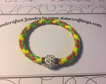 Red Green and Yellow Bangle Bracelet with Rhinestone Magnet