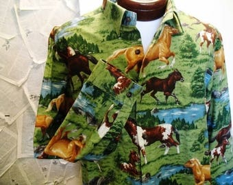 1990s Men's  Handmade Country Western Horse Print Long Sleeve Cotton Button Down Shirt L/XL