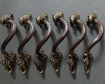 Vintage French Provincial Cabinet Pulls 6 Antique Brass Leaf design Dresser Drawer Handles hardware