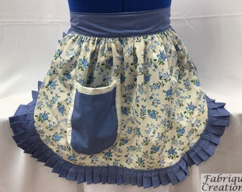 Retro Vintage 50s Style Half Apron / Pinny - Cream (Flowers) & Cornflower Blue Trim