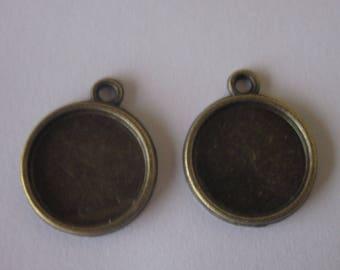 2 support cabochon metal bronze color (136)