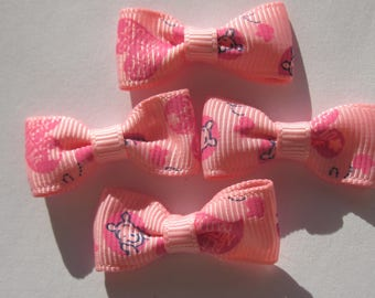 4 patterned 3.4 cm - fabric bows (A197