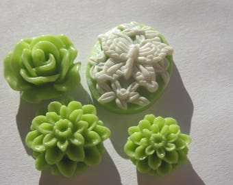 set of 4 flowers and resin cameo stick (7)