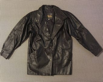 1980's, 3/4 length, black, leather jacket, Women's size Small