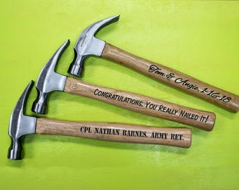 Engraved Hammer - Personalize With Any Message - Customized Gift For Father's Day - Birthday - Anniversary - Wedding - Any Occasion