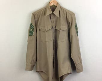Vintage Khaki Military Shirt Mens M