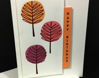Happy Birthday Greeting Card, Modern Trees, Plum, Salmon and Apricot Colors,