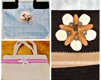 Seashell Coastal Beach Bag HANDBAG TOTE SAK Purses Unique Starfish Decorated Fashion Vacation Pouch Bag