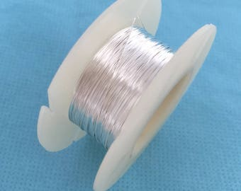 30 gauge Sterling Silver round beading wire bright shinny dead soft w30DS
