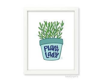 Plant Lady - Houseplant Art Print - Home Decor under 15 - Kitchen Wall Art - Entryway Wall Art - 8x10 art - 8x10 print