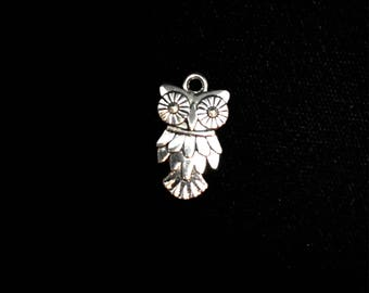 Owl Charm, Owl Pendant Charms  12 Pieces 20x12mm Antique Silver Finish, Detailed owl charms, 23-7-AS