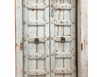 Antique jAIPUR iNDIA Welcome Doors Distressed blue Vintage Shabby Chic Door Eclectic Conscious Interior Design  Holiday Sale