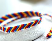 Romanian Bracelet Romania Bracelet Red Bracelet Blue Bracelet Romanian Jewelry Flag Macrame Friendship Knotted Bracelet Thread Bracelet