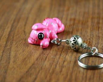 Deluxe Stitch-Itz Pink Elephant Key Chain With Sparkly Beads