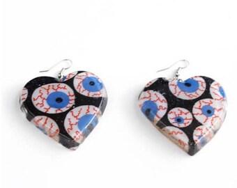 Eye ball earrings heart earrings eye ball jewelry eye ball charm eye ball earrings eye ball accessories eye ball shaped heart earrings punk