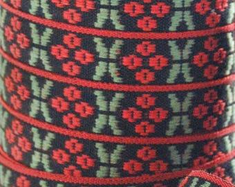 Scandinavian Folk Art Ribbon Hand Woven Lingonberries Swedish Per Yard
