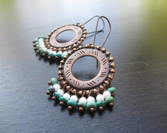 Boho chandelier earrings Blue and white Copper earrings Turquoise and coral Boho earrings Bohemian earrings Boho chic earrings Boho jewelry