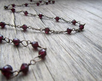 Dainty garnet necklace Delicate chain necklace Dainty necklace Delicate necklace Brass necklace Garnet jewelry January birthstone jewelry