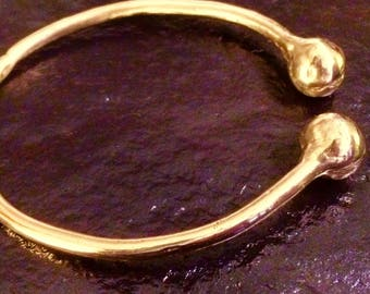 Old World Gold Torque Bangle Ancient Sumerian Design
