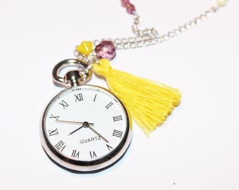 Yellow and purple Pocket Watch necklace