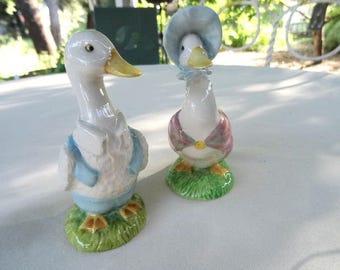 Beatrix Potter Jemima Puddleduck and Mr. Drake Puddle Duck Vintage Figurines
