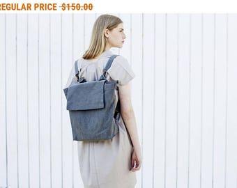 Sale, Fabric Women Backpack, Canvas Shoulder Bag, Zipper Tote, Gray Purse Backpack - Vegan Francis