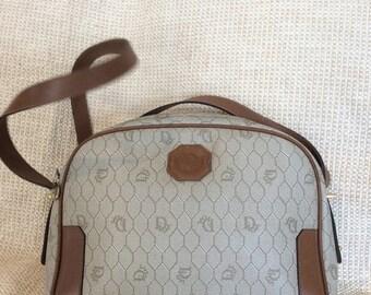 10% OFF SALE Genuine vintage Christian Dior vintage canvas and tan leather trim shoulder bag