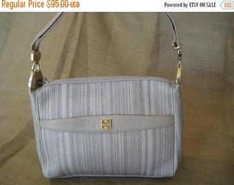 10% OFF SALE Vintage Givenchy beige leather and canvas shoulder bag hobo 80s