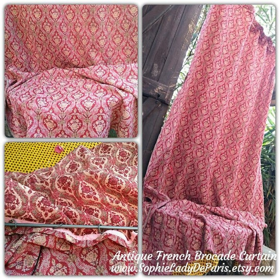 2.5Yds Antique Edwardian Brocade Curtain Red French Panel Pewter Rod Ring HomeDecor Textile Collectible Upholstery Fabric #sophieladydeparis