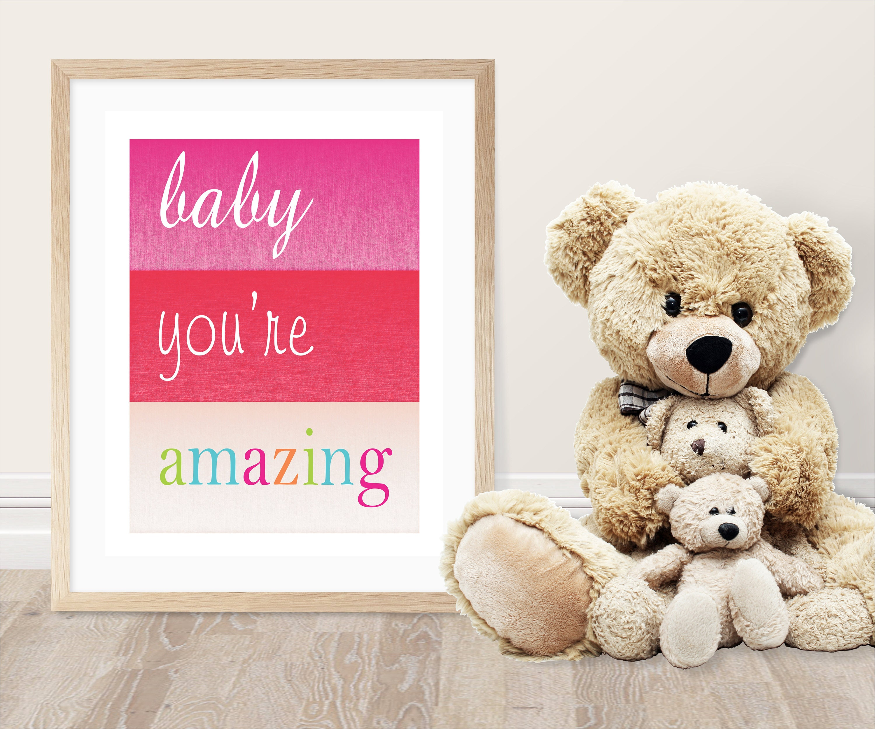 Baby You Re Amazing: Baby You're Amazing Wall Decor-Pink Red Rainbow Nursery