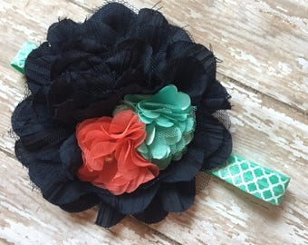 Navy, mint and coral headband, navy, coral and mint big headband, elastic baby headband, big fancy coral, navy baby headband, birthday bow