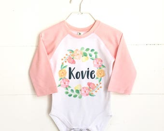 Girls Easter Shirt, Personalized Shirt, Personalized bodysuit, watercolor wreath, kids pink raglan, baby easter outfit, girls easter outfit