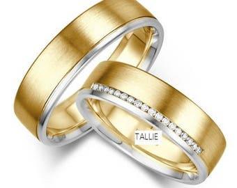 Matching Wedding Rings,10K Gold His & Hers Wedding Bands,Diamons Wedding Rings,Two Tone Wedding Rings,Matching Wedding Bands Set