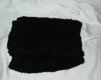 Black short knitted scarf