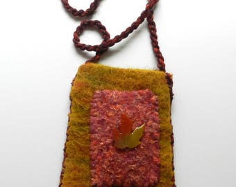 Hand Knit Mustard Pink Brown Felt Shoulder Bag - Autumn Maple Leaf