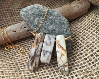 Three Stone Pendant Chain Necklace